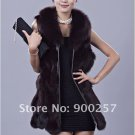 Genuine Fox Fur Long Vest with Belt, Black, L