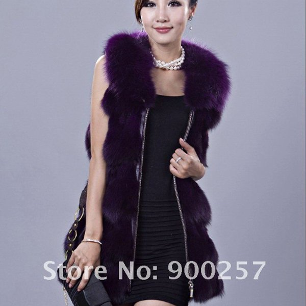 Genuine Fox Fur Long Vest with Belt, Dark Purple, XXL