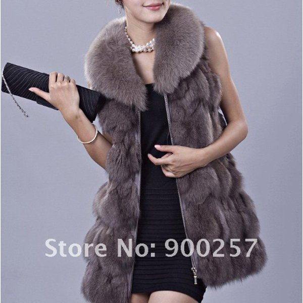 Genuine Fox Fur Long Vest with Belt, Grey, M