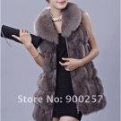 Genuine Fox Fur Long Vest with Belt, Grey, L