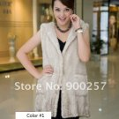 Genuine Knitted Hooded Mink Fur Long Vest, Cream