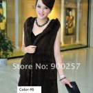 Genuine Knitted Hooded Mink Fur Long Vest, Brown