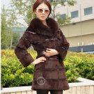 Genuine Real Rabbit Fur Coat with Fox Fur Collar, Brown, M