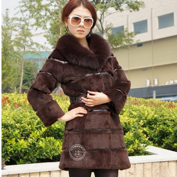 Genuine Real Rabbit Fur Coat with Fox Fur Collar, Brown, XL