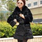 Genuine Real Rabbit Fur Coat with Fox Fur Collar, Black, M