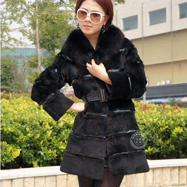 Genuine Real Rabbit Fur Coat with Fox Fur Collar, Black, XL