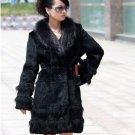 Genuine Real Rabbit Fur Coat with Raccoon Fur Collar, Black, M