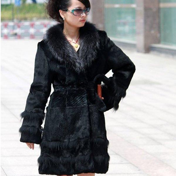 Genuine Real Rabbit Fur Coat with Raccoon Fur Collar, Black, XL