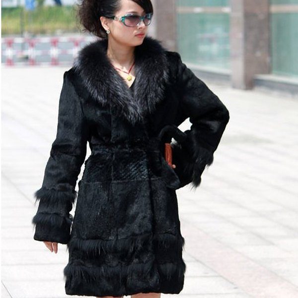 Genuine Real Rabbit Fur Coat with Raccoon Fur Collar, Black, XXL