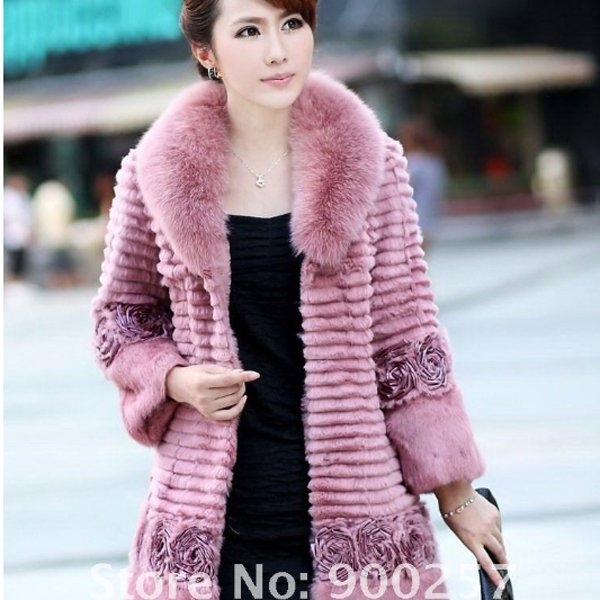 Genuine Real Rabbit Fur Coat with Satin Rose Decoration, Pink, XL