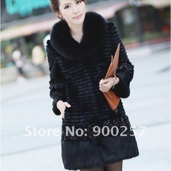 Genuine Real Rabbit Fur Coat with Satin Rose Decoration, Black, M