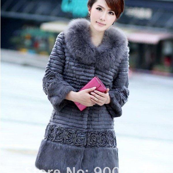 Genuine Real Rabbit Fur Coat with Satin Rose Decoration, Grey, XL