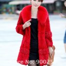 Genuine Real Rabbit Fur Coat with Satin Rose Decoration, Red, XL