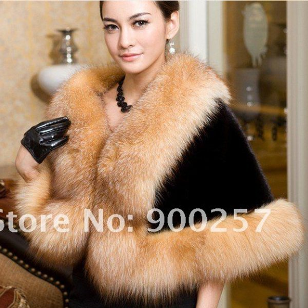 Genuine Top Quality Mink Fur Wrap/Shawl Fox Fur Trims, Black/Brown Fox