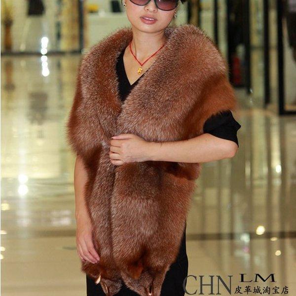Genuine Whole Hide Real Fox Fur Scarf/Shawl Brown