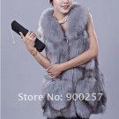 Gorgeous Genuine REAL Fox Fur Long Vest, Light Blue-Grey, L
