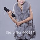 Gorgeous Genuine REAL Fox Fur Long Vest, Light Blue-Grey, XL