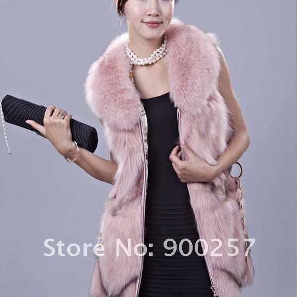 Gorgeous Genuine REAL Fox Fur Long Vest, Pink, XL