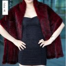 Gorgeous Genuine REAL Hand Knited Mink Fur Shawl/Scarf, Dark Red