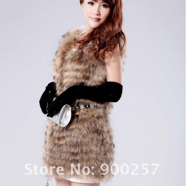 Gorgeous Genuine REAL Raccoon Fur Long Vest, Random Belt Included, L
