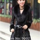 Lamb Leather Coat, REAL Mink fur Trimming & Fox Collar, Black, L