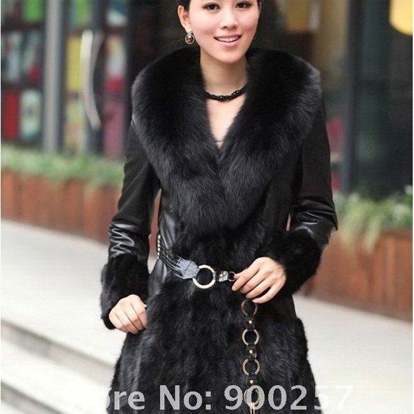 Lamb Leather Coat, REAL Mink fur Trimming & Fox Collar, Black, XXL