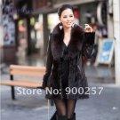 Lamb Leather Coat, REAL Mink fur Trimming & Fox Collar, Brown, L