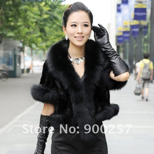 Luxurious!!Genuine REAL Patched Mink Fur Shrug/Cape, Black, XXL