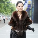 Luxurious!!Genuine REAL Patched Mink Fur Shrug/Cape, Brown,L