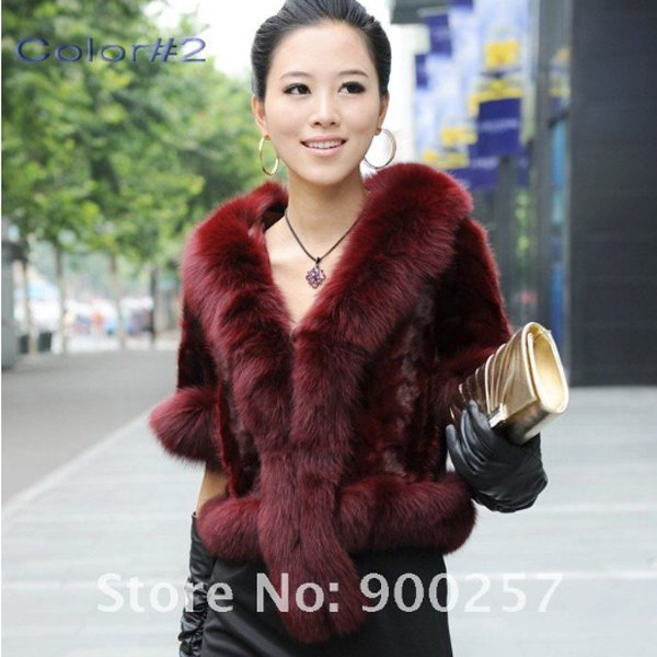 Luxurious!!Genuine REAL Patched Mink Fur Shrug/Cape, Dark Red, L