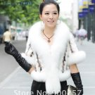 Luxurious!!Genuine REAL Patched Mink Fur Shrug/Cape, White, XXL