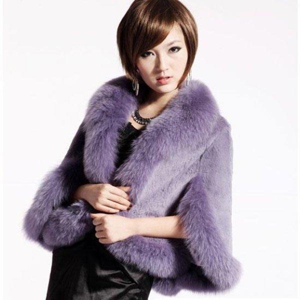 Luxury Genuine Sheared Rabbit Fur Shawl with Fox Trims Liliac