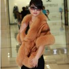Luxuy Large Genuine REAL Mink Fur Shawl with Fox Trim, Caramel