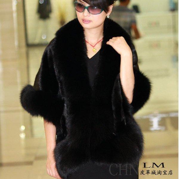 Luxuy Large Genuine REAL Mink Fur Shawl with Fox Trim, Black