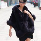 Luxuy Large Genuine Rex Rabbit Fur Shawl with Fox Trim, Black