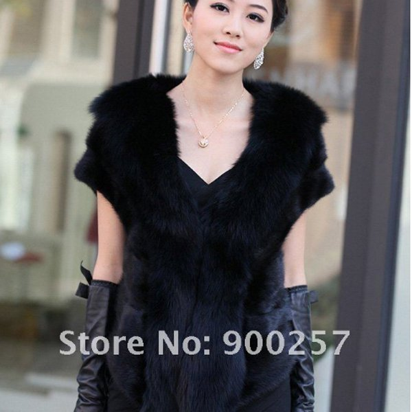Luxuy Large Genuine REAL Mink Fur Shrug/Cape Black