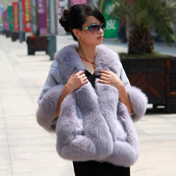Luxuy Large Genuine Rex Rabbit Fur Shawl with Fox Trim, Liliac