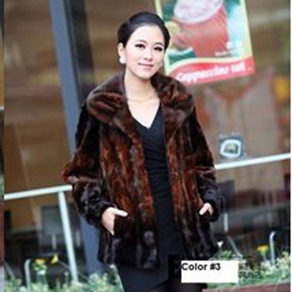 Top Qulity, Luxury, Genuine Real Mink Fur Coat / Jacket, Orange, XXL