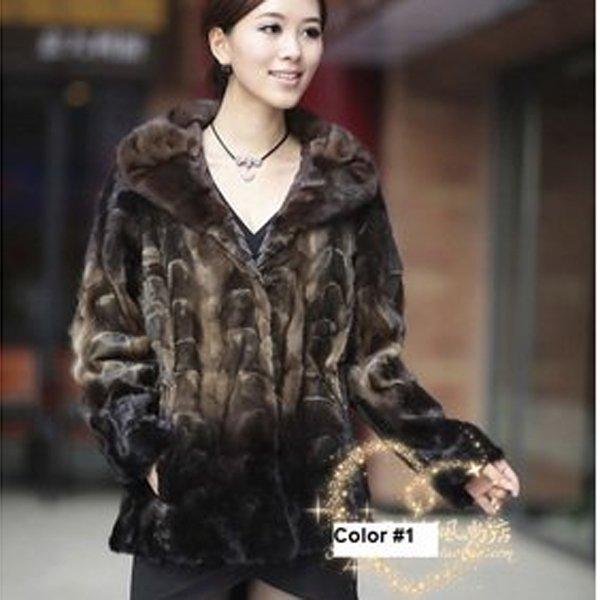 Top Qulity, Luxury, Genuine Real Mink Fur Coat / Jacket, Black/Beige, XL