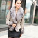 Stylish Real Leather Jacket with Real Fox fur Trims, Beige M