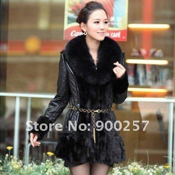 Diamond Patterned Lamb Leather Coat, REAL Mink fur Trimming & Fox Collar, Black XXL