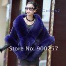 Luxuy Large Genuine REAL Mink Fur Shawl with Fox Trim Dark Blue