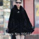Genuine Real Rex Rabbit & Pieced Mink Fur Coat XL