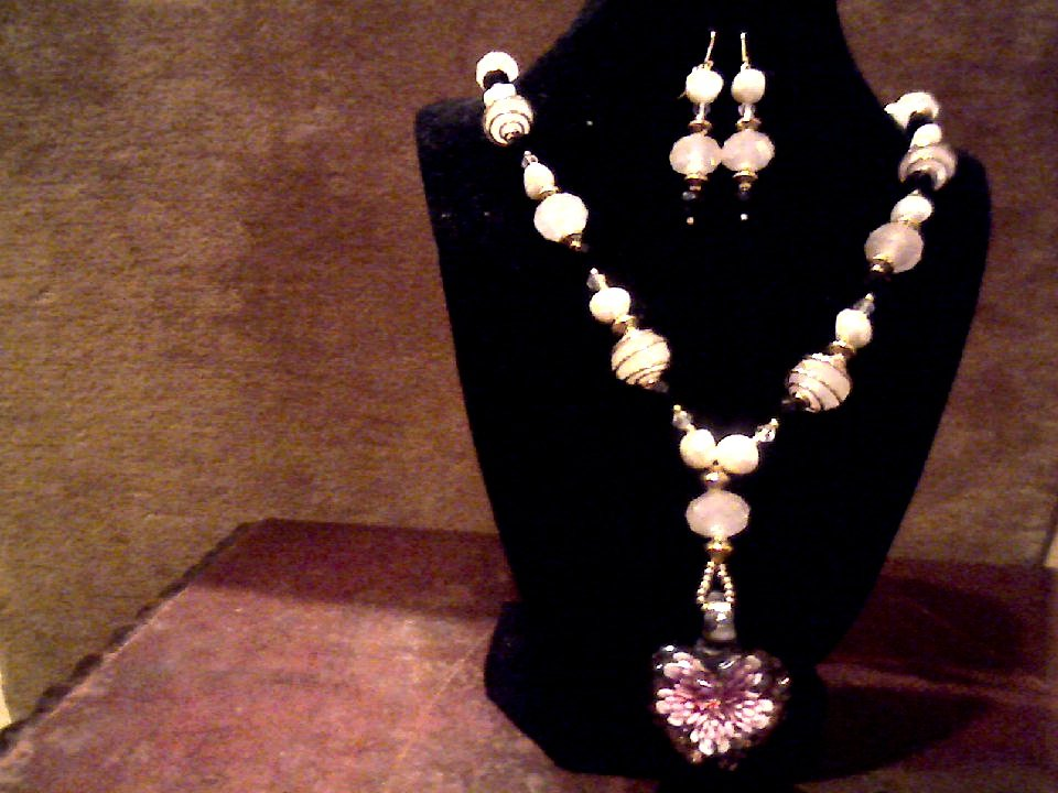 Lampwork glass pendant, Swarovski crystal and pearl ~Set