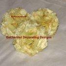 Lot of 3 Buttercream Rose Kissing Pomander Ball 5 inch Wedding Flower