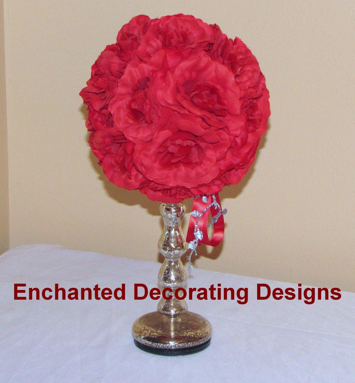 Pomander ball silver glass candle holder wedding flower