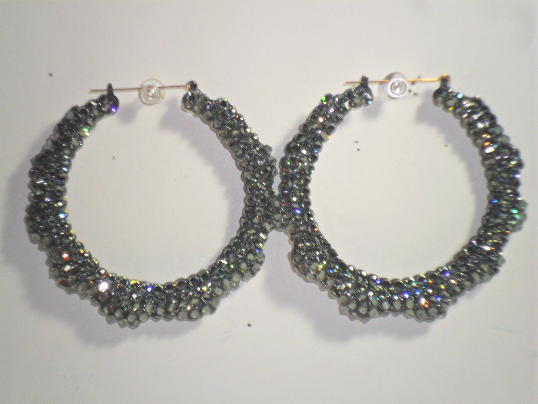 Swarovski Crystal Bamboo Earrings Black Diamond On Sale Lowest Price