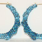 "3"" Swarovski Two-Color Blue Jean Bamboo EarringsFrom TheiLLLines"