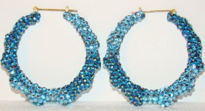 """3"""" Swarovski Two-Color Blue Jean Bamboo EarringsFrom TheiLLLines"""