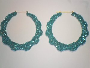 Bamboo Hoop Bling Bling Earrings Turquoise Buy 1 Get 1 Free Mix or Match